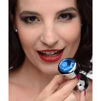 thumb-Aluminum Buttplug Met Blauw Kristal  - Medium-4