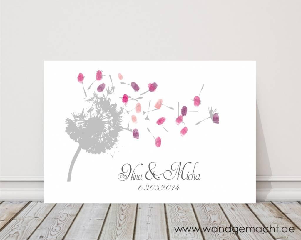 """wedding tree """"Pusteblume"""" Leinwand Geschenkidee Geburtstag Taufe Konfirmation Gästebuch Fingerabdruckbaum weddingtree"""