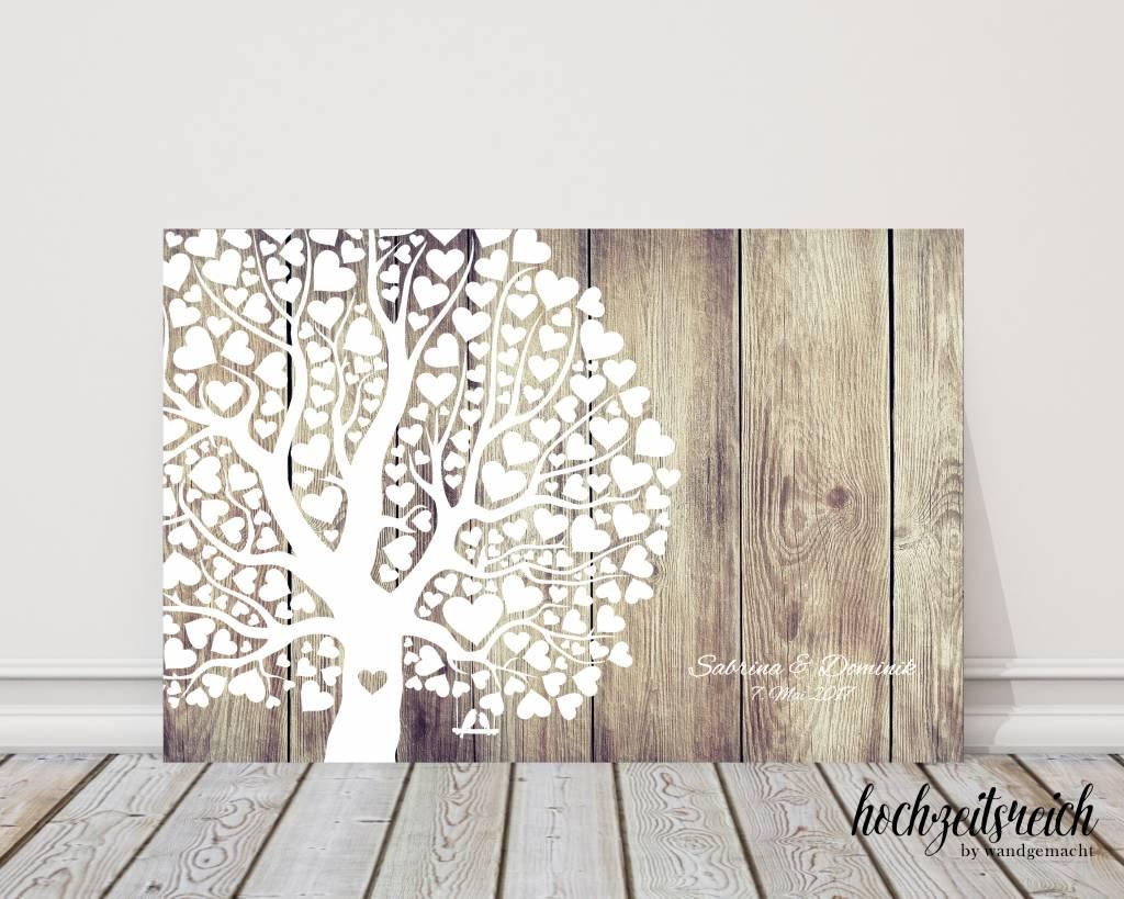 "wedding tree ""Herzblattbaum helleres Holz"" Leinwand"