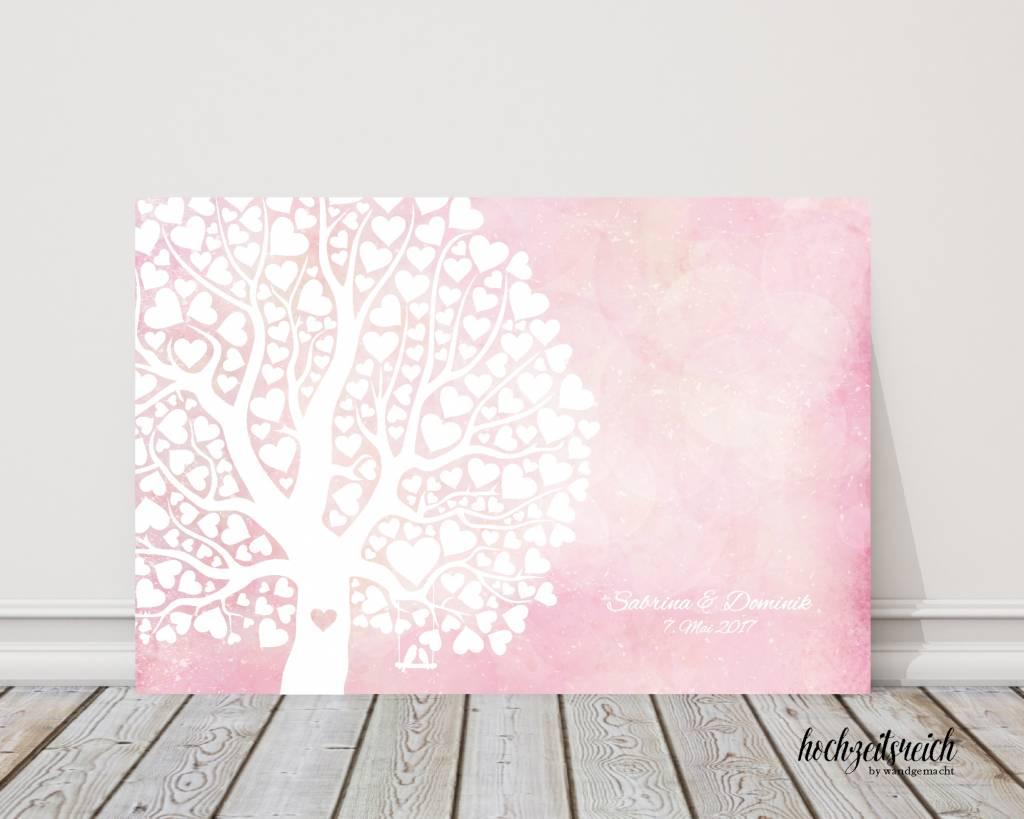"""wedding tree """"Herzblattbaum rosa"""" Leinwand"""