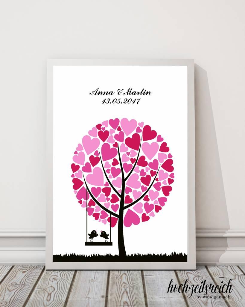 """wedding tree Fingerabdruckbaum """"Baum mit Herzblättern"""""""