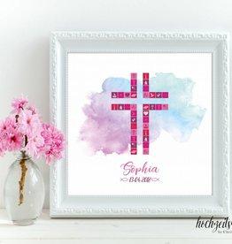 """Taufbild """"Kreuz Mädchen"""" 25x25cm"""