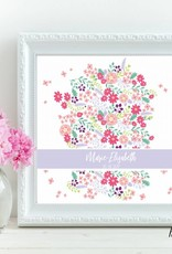 """Taufbild """"Blüten"""" 25x25cm"""