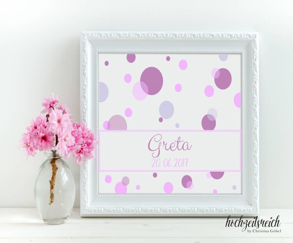 "Taufbild ""Greta"" 25x25cm"