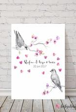 "wedding tree ""birds"" Leinwand"