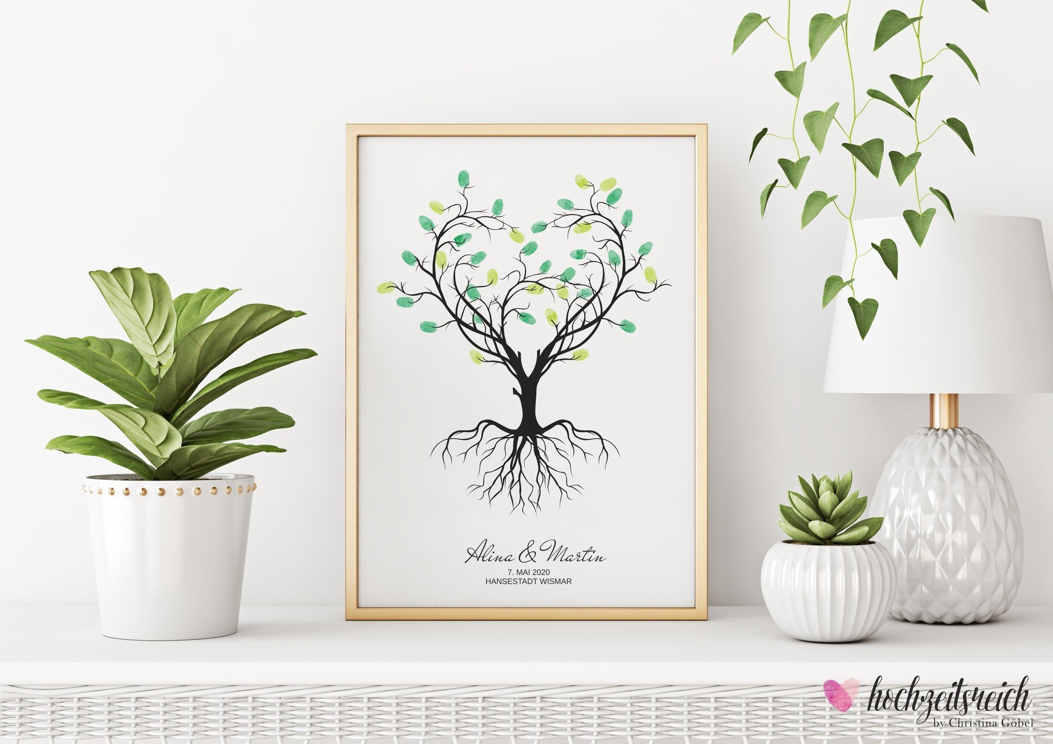 Hochzeitsbaum wedding tree Fingerabdruckbaum // Herzbaum