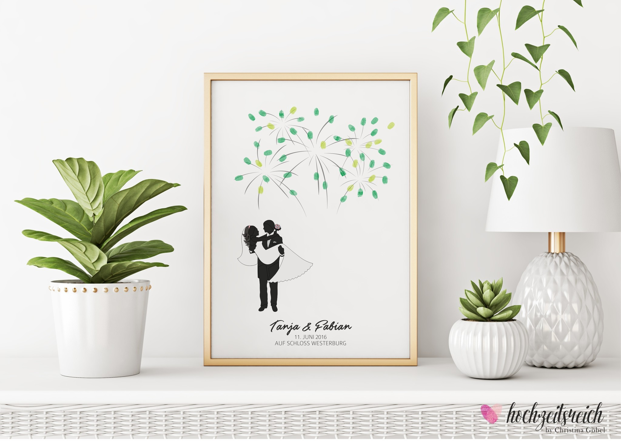 wedding tree Fingerabdruckbaum // Brautpaar Feuerwerk