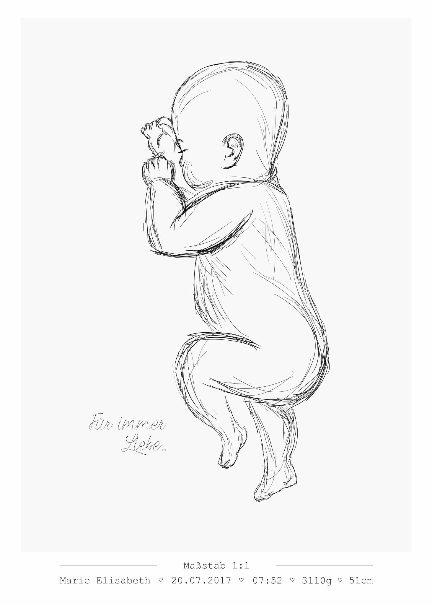 Geburtsposter Maßstab 1:1 individuell angepasst