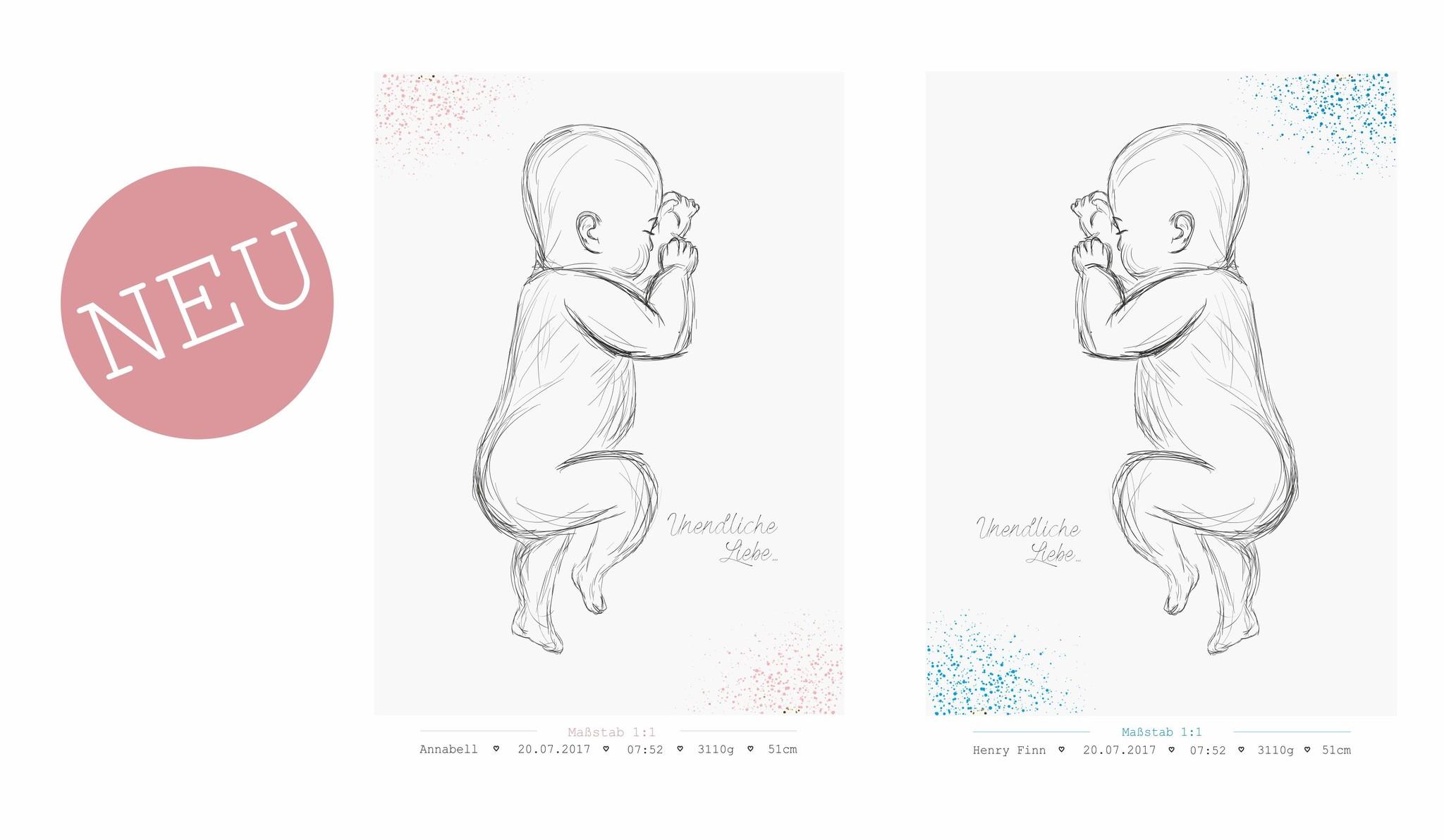 Geburtsbild auf Leinwand Maßstab 1:1 blau // rosa dots
