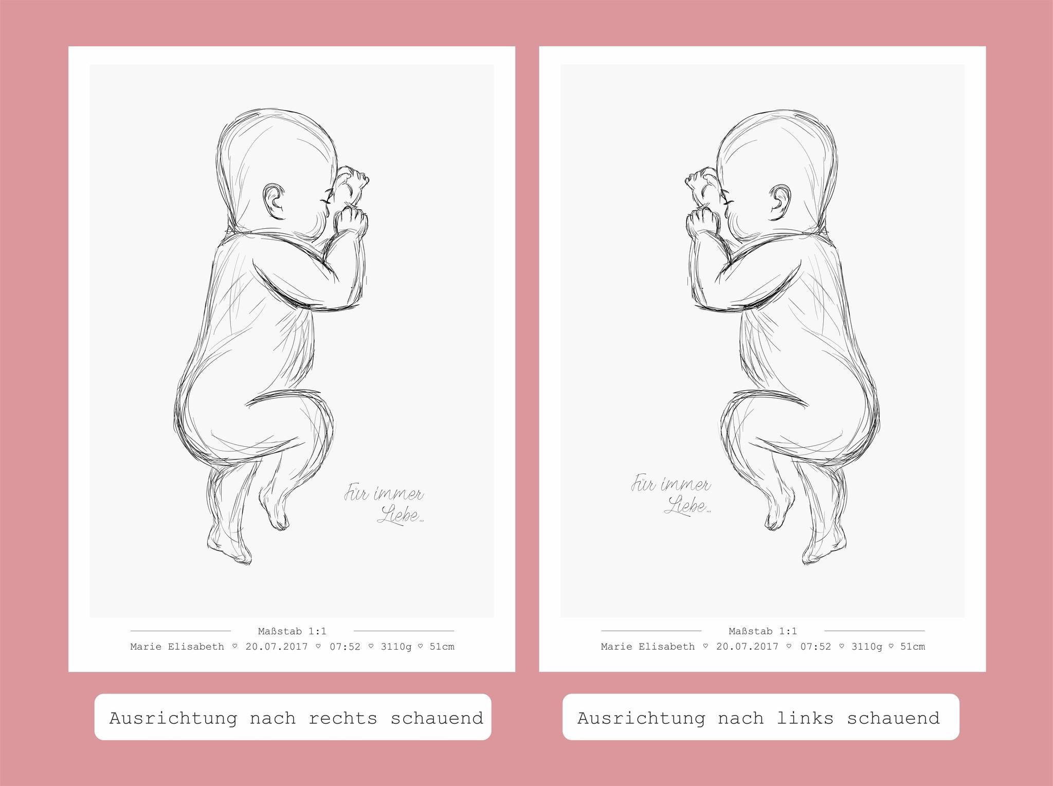 Geburtsbild auf Leinwand Maßstab 1:1 blau // rosa
