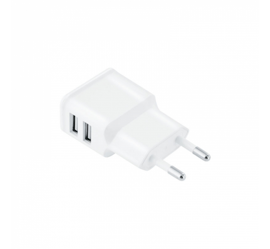 Verloopstekker/Muurstekker met twee USB poorten