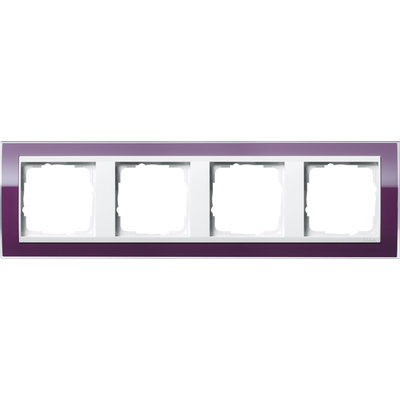 Gira afdekraam 4-voudig Event Clear aubergine glans/wit glans (0214753)