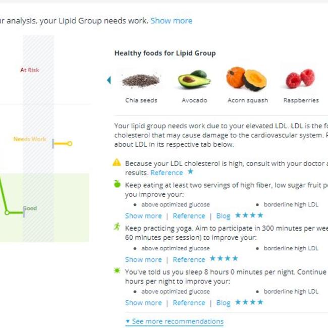 InsideTracker lifestyle en voedingsadvies op basis van uw bloedwaarden
