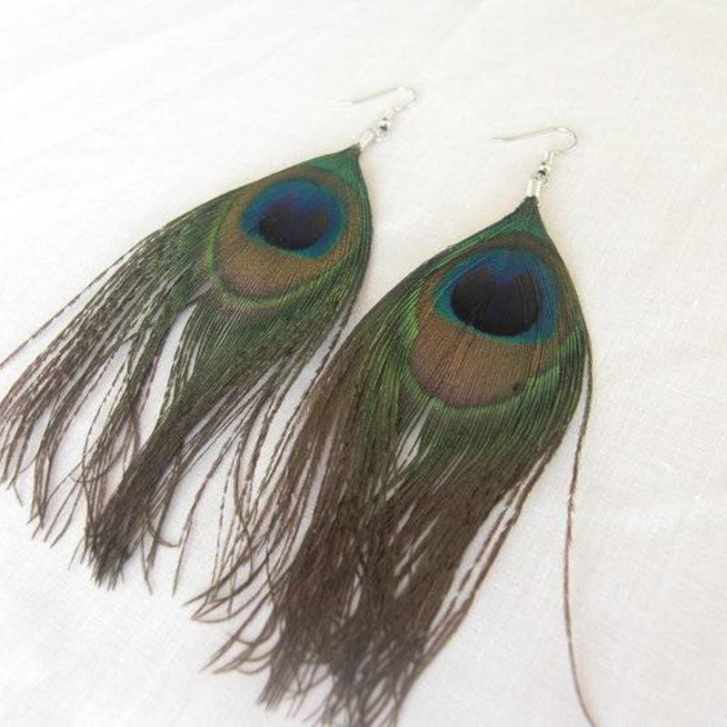 Pauwenveren oorbellen 11cm