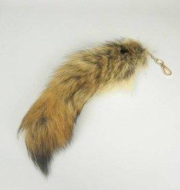 Janshop Vossenstaart sleutelhanger 35cm blond met zwart topje