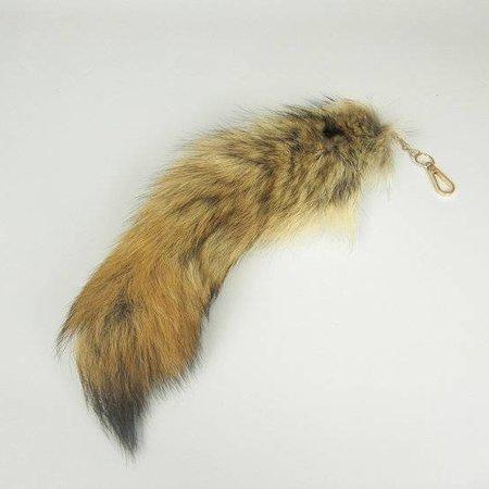 Vossenstaart sleutelhanger 35cm blond met zwart topje