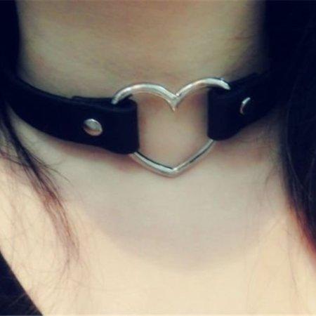 Halsband Punk Gothic Hart Choker Ketting Harajuka PU Leder