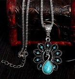 Fashion antieke Turkoois Pauw Ketting met Rhinestone