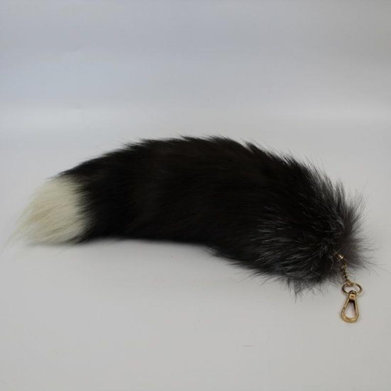 Vossenstaart sleutelhanger 40cm zwart met grijs/wit topje
