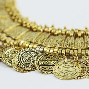 Janshop Coins Muntjes Ketting Festival Statement Goud