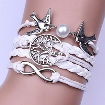 Wit infinity armband Life of Tree Infinity Bird met nep parel