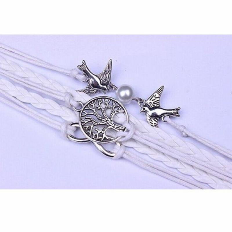 Wit infinity armband Life of Tree Infinity Bird met nep parel