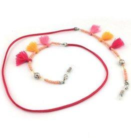 Janshop Brillenkoord hip Ibiza tassel kraaltjes touw roze