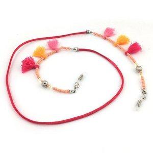 Brillenkoord hip Ibiza tassel kraaltjes touw roze