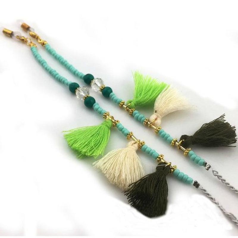 Brillenkoord hip Ibiza kraaltjes tassel groen