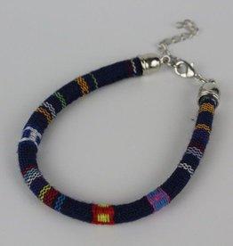 Armband hip Ibiza katoen geweven donkerblauw
