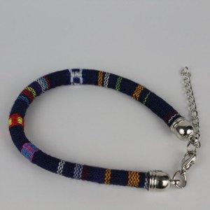 Janshop Armband hip Ibiza katoen geweven donkerblauw