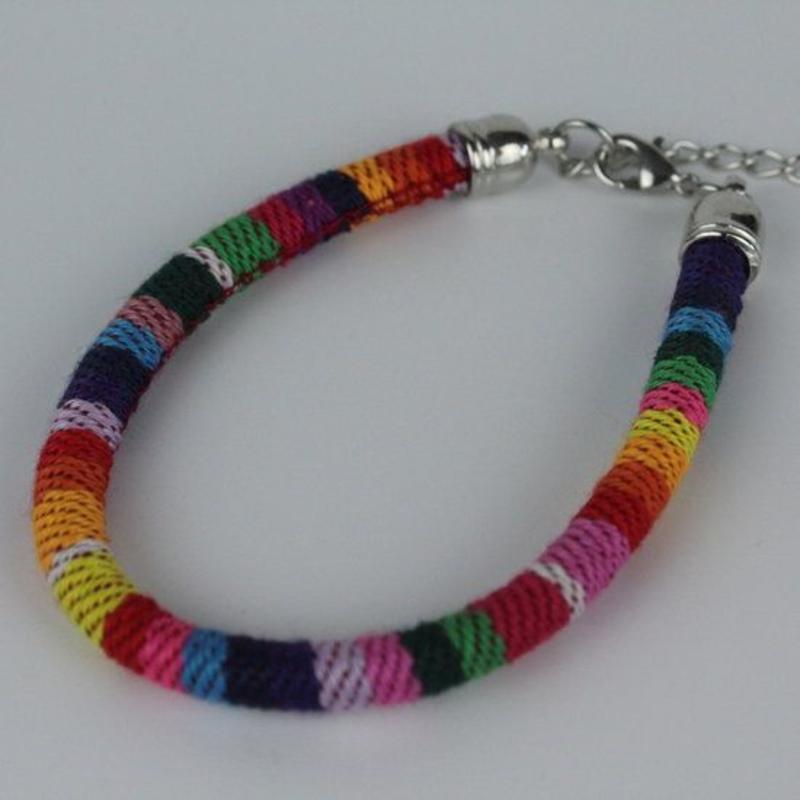 Janshop Armband hip Ibiza katoen geweven rainbow