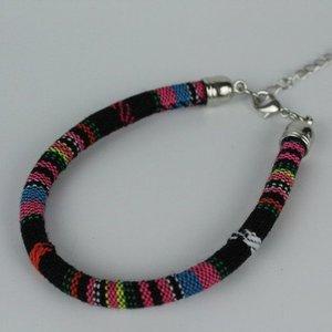 Janshop Armband hip Ibiza katoen geweven zwart + roze