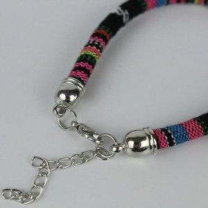 Armband hip Ibiza katoen geweven zwart + roze