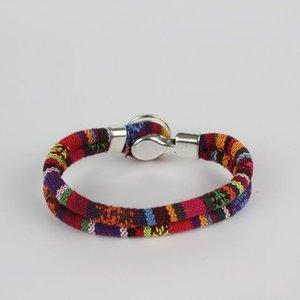 Bohemian Kleurige Katoen Armband Tibet Silver Bloem Snap Button Originele Kleur