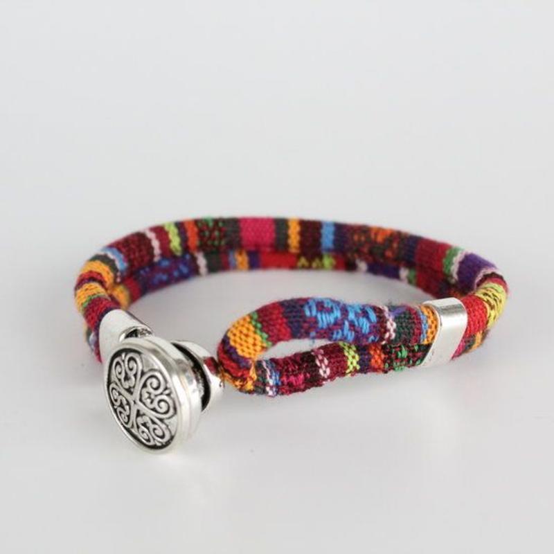 Janshop Bohemian Kleurige Katoen Armband Tibet Silver Bloem Snap Button Originele Kleur