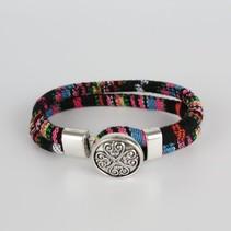 Bohemian Kleurige Katoen Armband Tibet Silver Bloem Snap Button Zwart + Roze