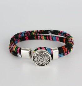 Janshop Bohemian Kleurige Katoen Armband Tibet Silver Bloem Snap Button Zwart + Roze