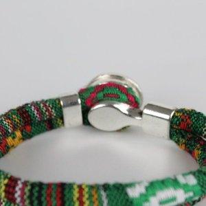 Janshop Bohemian Kleurige Katoen Armband Tibet Silver Bloem Snap Button Groen