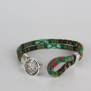 Bohemian Kleurige Katoen Armband Tibet Silver Bloem Snap Button Groen