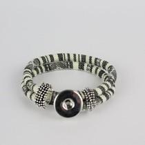 Bohemian Kleurige Katoen Armband 18mm Snap Button Wit + Zwart golven