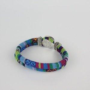 Janshop Bohemian Kleurige Katoen Armband 18mm Snap Button Lichtblauw