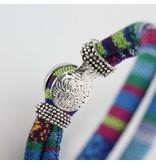 Bohemian Kleurige Katoen Armband 18mm Snap Button Lichtblauw