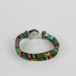 Janshop Bohemian Kleurige Katoen Armband 18mm Snap Button Groen