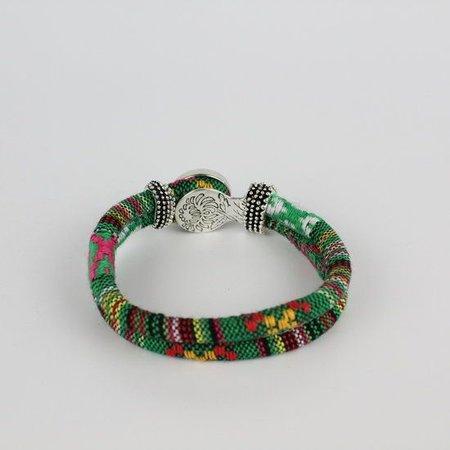 Bohemian Kleurige Katoen Armband 18mm Snap Button Groen