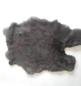 Konijnenvacht 60 x 35cm donkergrijs/zwart
