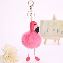 Flamingo imitatiebont fluffy ball pompom sleutelhanger