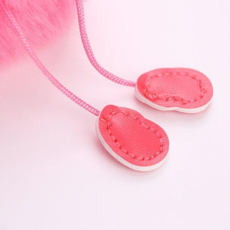 Janshop Flamingo imitatiebont fluffy ball pompom sleutelhanger