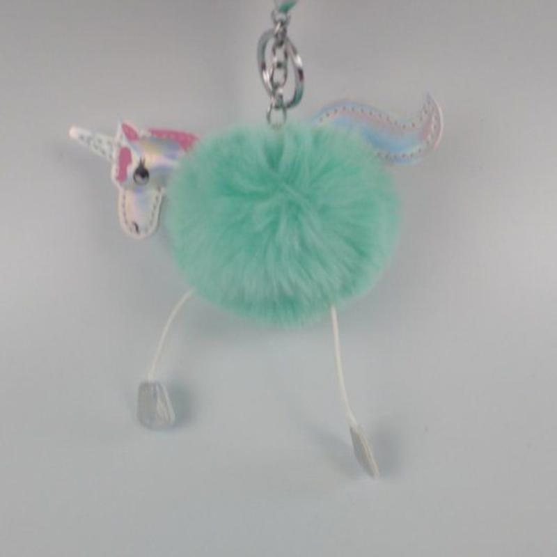 Eenhoorn imitatiebont fluffy ball pompom sleutelhanger