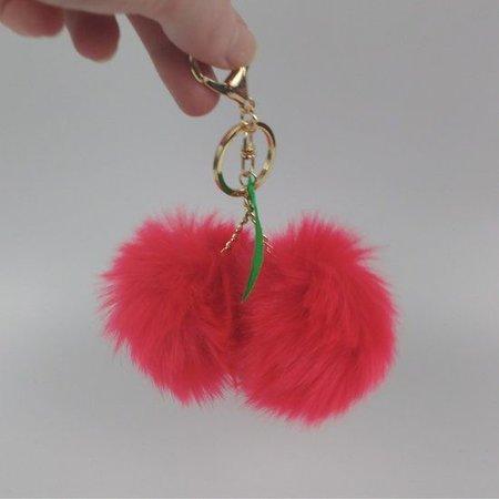 Kersen imitatiebont fluffy ball pompom sleutelhanger